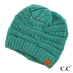 Cable knit, confetti print C.C beanie in sea green. 100% acrylic.
