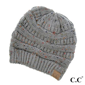 Cable knit, confetti print C.C beanie in natural gray. 100% acrylic.