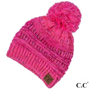 Cable knit, confetti print C.C beanie with pom pom, in bubblegum pink. 100% acrylic.