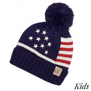 "C.C Kids Beanie with an American theme and a pom pom. 100% acrylic. Measures 7"" in diameter and 8"" in length. Approximate fit: 4 to 7 years of age."