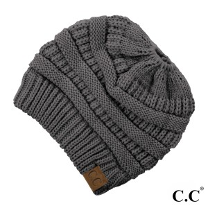 Messy-bun, C.C beanie in dark melange grey. 100% acrylic.