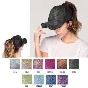 CC Pony Cap BT-6. C.C glitter ponytail baseball cap with mesh back. Adjustable velcro back with CC leather Logo on back. 100% polyester
