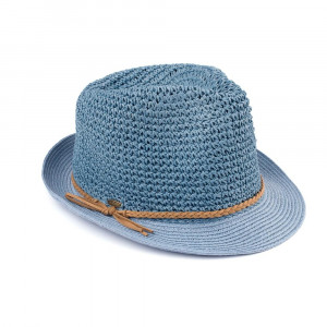 "C.C Brand fedora hat with a braided accent around the brim. 95% paper and 5% polyester. Approximately 9.5"" in total diameter."