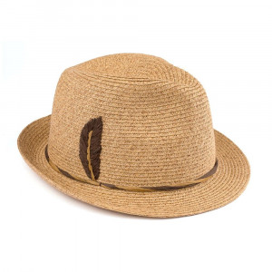 "C.C Brand fedora hat with an embroidered, raffia feather. 80% paper and 20% polyester. Approximately 10.5"" in diameter."