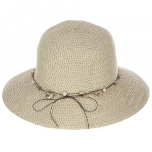 "C.C Brand wide-brim floppy hat with pearl and mother of pearl beads. 88% paper and 12% polyester. Approximately 13.5"" in diameter."