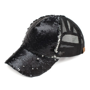 C.C Brand Pony Cap. BT-723 Reversible sequin ponytail baseball cap with mesh back. Sequins are different colors on the front and back. Adjustable velcro back with CC leather logo on back. 100% polyester.