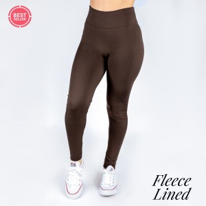 Dark brown fleece lined leggings. One size fits most, full length, winter weight. Offered in everyday essential colors to coordinate with long tops, skirts, or to wear underneath clothing to keep warm. Made of a 92% polyester and 8% Spandex mix.