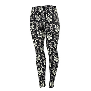 Peach skin black, ivory, and gray damask printed leggings. Made of a 92% polyester and 8% Spandex blend. One size fits most.