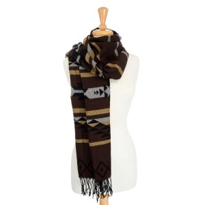 Brown heavyweight scarf with a black, tan, and gray Aztec print. 100% Acrylic.