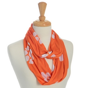 Lightweight orange infinity scarf with white paw prints. 100% Polyester.