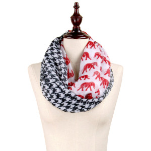 Lightweight infinity scarf with black and white houndstooth and a crimson elephant pattern. 100% Polyester.