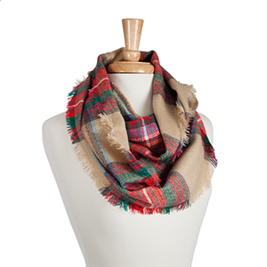 Heavyweight beige infinity scarf with red, green, and blue tartan plaid. 100% Acrylic.
