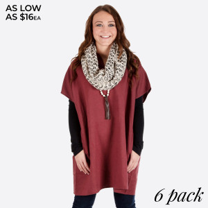 Burgundy linen pocket dress. 100% Cotton. Sold in packs of 6. Four S/M and two M/L.