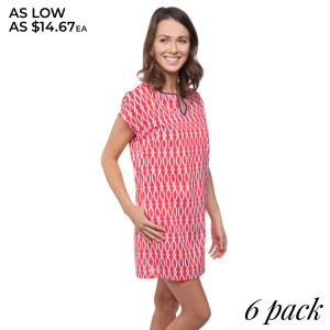 Coral printed shift dress with navy blue trim. Sold in packs of six - one small, two mediums, two larges, one extra large.