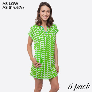 Lime green printed shift dress with turquoise trim. Sold in packs of six - one small, two mediums, two larges, one extra large. 100% Cotton