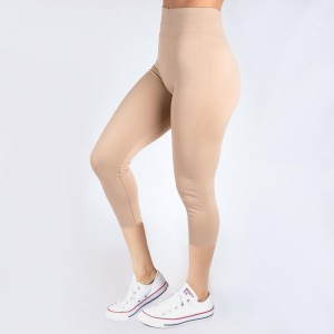 Khaki capri leggings. Summer weight.  Made of a 92% nylon and 8% spandex mix. One size fits most.