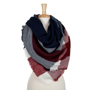 Navy, wine and white plaid blanket scarf. 100% acrylic.