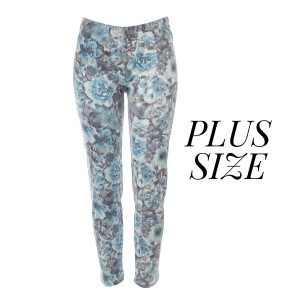 Plus size lightweight full length pattern leggings with a faded wash floral print. One size fits most.