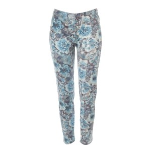 Blue floral pattern leggings made of a polyester and spandex blend. One size fits most.