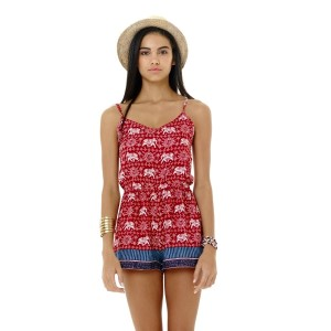 Dark red elephant and Arabesque print romper sold is packs of six - one small, two medium, two large, one extra large.