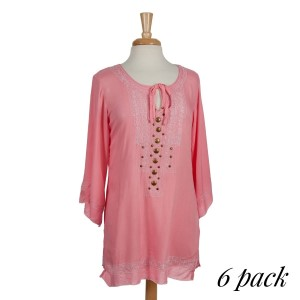 The Shooting Star Dress is a mosaic inspired pale pink tunic with 3/4 sleeve and beautiful embroidered detail and front placket. Sold in packs of six - 2 smalls, 2 mediums, 2 larges.