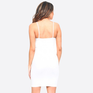 White spaghetti strap camisole dress length tank top for layering. 92% nylon and 8% spandex. One size fits most, fits US women's 2-14.