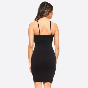 Black spaghetti strap camisole dress length tank top for layering. 92% nylon and 8% spandex. One size fits most, fits US women's 2-14.