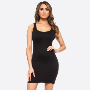 Black wide strap camisole dress length tank top for layering. 92% nylon and 8% spandex. One size fits most.