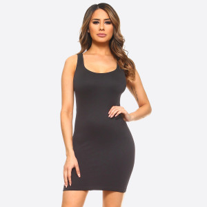 Charcoal wide strap camisole dress length tank top for layering. 92% nylon and 8% spandex. One size fits most.