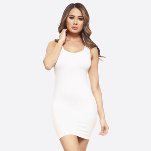 The traditional ribbed tank dress is in for the long haul with memory fibers that hugs those curves like an hour glass. Extended hemline ends above the knee in the classic mini styling boy dress.   - Round Neckline  - Sleeveless - Long Camisole - Mini Dress  - Body Contouring - Figure Hugging - Solid Color  - Comfortable - Super Soft  - Stretchy   One Size Fits Most 0-14  Composition: 92% Nylon, 8% Spandex