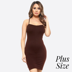Brown spaghetti strap camisole dress length tank top for layering. 92% nylon and 8% spandex. One size fits most - plus size.