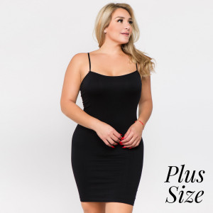 Black spaghetti strap camisole dress length tank top for layering. 92% nylon and 8% spandex. One size fits most - plus size.