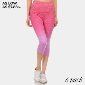 Magenta to lavender ombre exercise capri length leggings. Made of 65% nylon, 30% polyester and 5% spandex. Sold in packs of six - two smalls, two mediums, two larges.