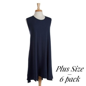 This is the perfect plus size spring dress and is versatile and comfortable. Made of a navy blue viscose blend and is perfect for monogramming! Sold in packs of six - two 1X, two 2X, two 3X.