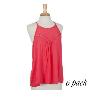Coral halter top with lace cutouts on the front chest. 100% rayon. Sold in packs of six - one small, two mediums, two larges, one extra large.