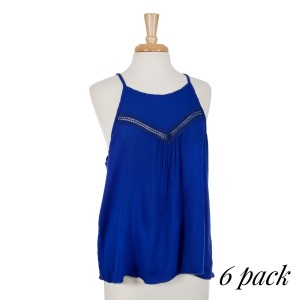 Royal blue halter top with lace cutouts on the front chest. 100% rayon. Sold in packs of six - one small, two mediums, two larges, one extra large.