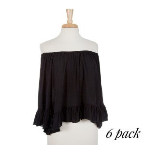 Black off the shoulder top with ruffles on the sleeve and bottom hem with an elastic neckline. 100% rayon. Sold in packs of six - one small, two mediums, two larges, one extra large.