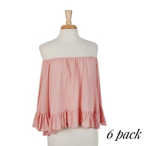 Rose pink off the shoulder top with ruffles on the sleeve and bottom hem with an elastic neckline. 100% rayon. Sold in packs of six - one small, two mediums, two larges, one extra large.