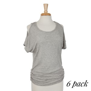 Ribbed gray cold shoulder dolman top with ruching along the sides. 95% rayon and 5% spandex. Sold in packs of six - one small, two mediums, two larges, one extra large.