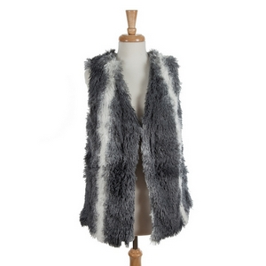 Gray and white faux fur vest. 100% polyester. One size fits most.