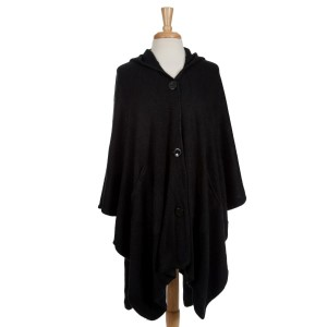 Black hooded poncho with a button front. 100% acrylic. One size fits most.