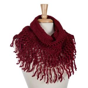 Burgundy knit tube scarf with fringe. 100% acrylic.