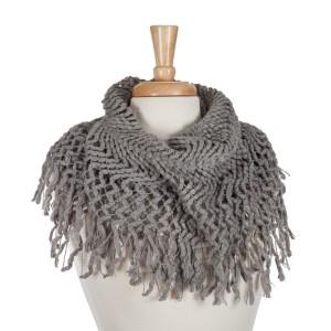 Gray knit tube scarf with fringe. 100% acrylic