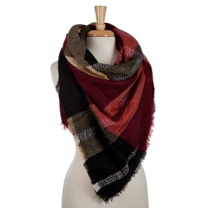 Burgundy, beige and black plaid blanket scarf. 100% acrylic.