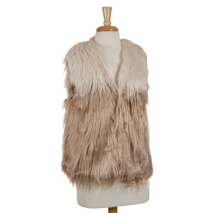 Tan and beige ombre faux fur vest. 100% polyester. One size fits most.