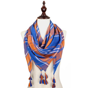Royal blue and orange lightweight plaid scarf with tassels. 100% polyester.