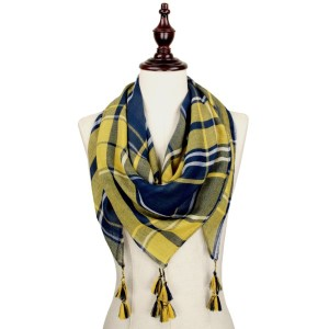 Navy blue and yellow lightweight plaid scarf with tassels. 100% polyester.