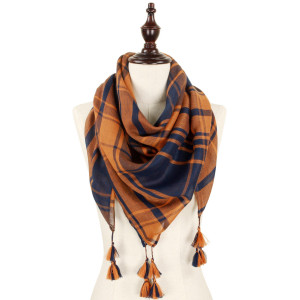 Navy blue and orange lightweight plaid scarf with tassels. 100% polyester.