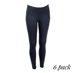 Charcoal gray full length active leggings. 88% polyester and 12% spandex. Sold in packs of six - two smalls, two mediums, two larges.