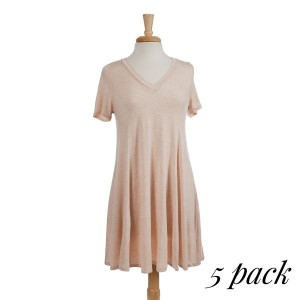Heathered peach short sleeve t-shirt dress with a v-neckline and a flowy fit. 94% rayon and 6% spandex.  Sold in packs of five - two smalls, two mediums and one large.
